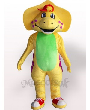 Yellow Dinosaur Plush Adult Mascot Costume