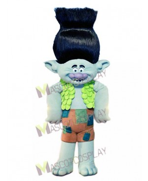 Trolls Cartoon Branch Mascot Costume Boy with Black Hair Mascot Costume