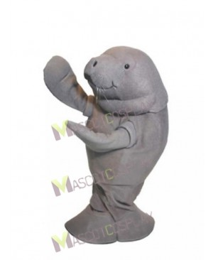 Cute Zoo Gray Manatee Mascot Costume