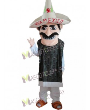 New Mexican Man with Sombrero Straw Hat Mascot Costume