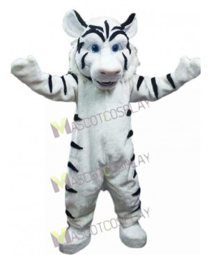 New White Tiger with Black Stripes Mascot Costume
