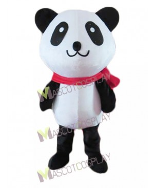 Cartoon Black and White Panda Bear with Red Scarf Mascot Costume