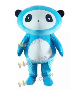 Cartoon Blue Panda Bear Mascot Costume
