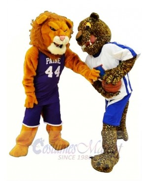 Sporty Lion and Leopard Mascot Costume