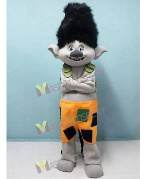 Trolls Boy Branch Mascot Costume Black Hair Branch Mascot Costume