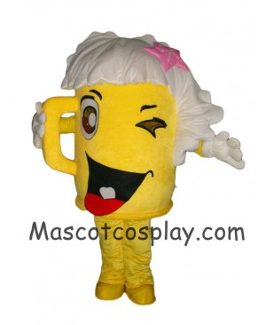 Hot Sale Adorable Realistic New Popular Professional Custom Made Mascot Costume Yellow Cartoon Cup Glass Beer Bottle Walking Doll Mascot Costumes