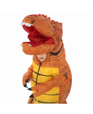 Brown T-Rex Dinosaur Inflatable Costume Air Blow up Party Suit for Adult/Kid
