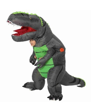 Gray T-Rex Dinosaur Inflatable Costume Air Blow up Party Suit for Adult/Kid