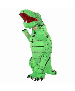 Green T-Rex Dinosaur Inflatable Costume Air Blow up Party Suit for Adult/Kid