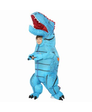Blue T-Rex Dinosaur Inflatable Costume Air Blow up Party Suit for Adult/Kid