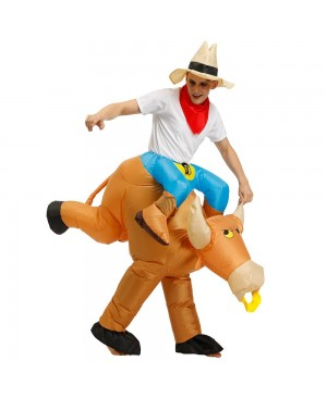 Cowboy Carry me Ride on Brown Bull Inflatable Halloween Xmas Costume for Adult/Kid