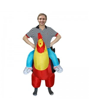 Red Rooster Cock Carry me Ride on Inflatable Costume Halloween Christmas Costume for Adult/Kid
