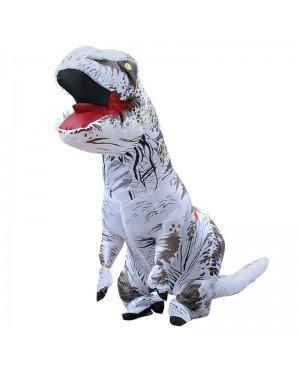 White Tyrannosaurus T-Rex Dinosaur Inflatable Costume Halloween Xmas for Adult/Kid