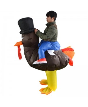 Turkey with Orange Tail Carry me Ride on Inflatable Costume Thanksgiving Day for Adult