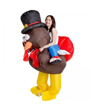 Turkey with Red Tail Carry me Ride on Inflatable Costume Thanksgiving Day for Adult