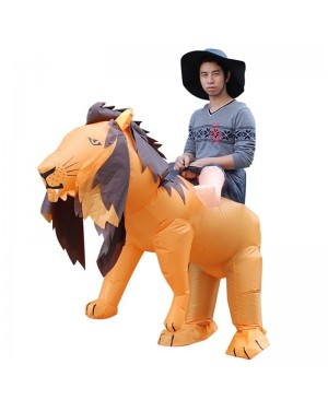 Orange Lion Carry Me Ride on Inflatable Costume Fancy Dress Cosplay Costume