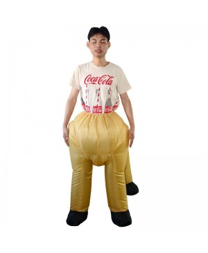 Yellow Centaur Half-man Half-horse Inflatable Costume Halloween Christmas Holiday Costume for Adult