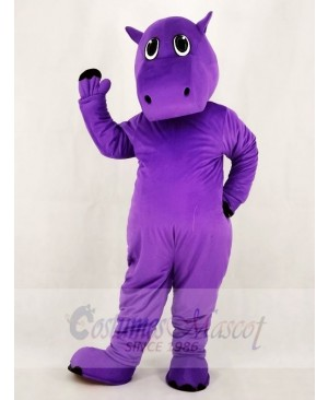 Cute Purple Hippo Mascot Costume School