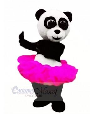 Pink Skirt Ballet Panda Mascot Costume Animal