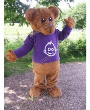 High Quality Adult Brown Bernard Bear Mascot Costume in Purple Shirt