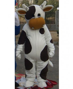 Black and White Cattle Cow Mascot Costume