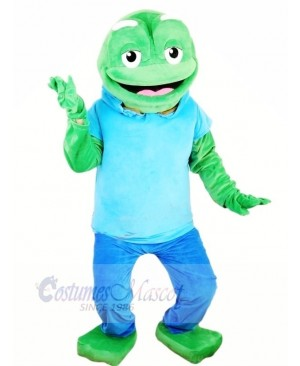 Big Green Frog with Blue T-shirt Mascot Costumes Animal