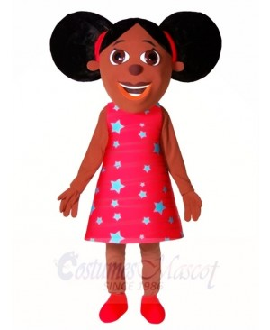 Black Girl in Red Dress Mascot Costumes People