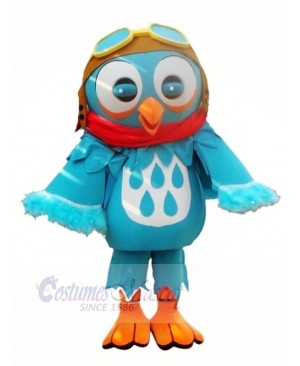 Blue Owl with Glasses Mascot Costumes Animal