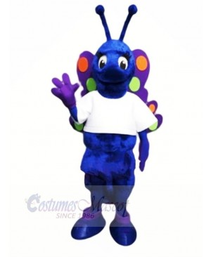 Blue Butterfly with White T-shirt Mascot Costumes Animal