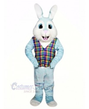 Blue Easter Bunny with Colorful Vest Mascot Costumes Animal