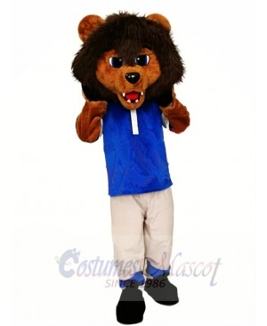 Sporty Lion Mascot Costume with Blue Shirt