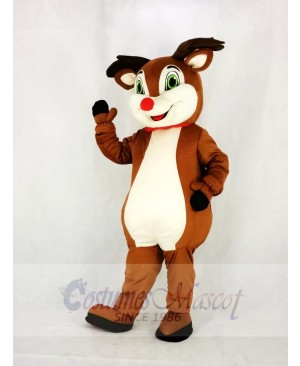 Reindeer with Red Nose Mascot Costume Cartoon
