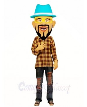 Blue Hat DJ Man Mascot Costumes People