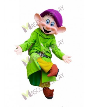 High Quality Adult Green Dwarf Dwarfs Dopey Mascot Costume