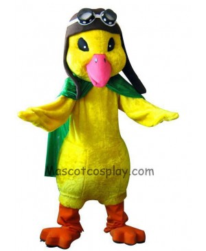 Aviator Duck Mascot Character Costume Fancy Dress Outfit