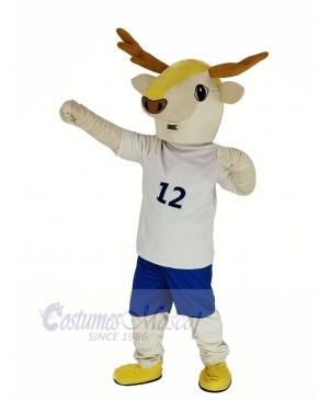 Brown Deer in White Clothes Mascot Costume Animal