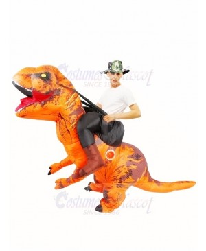 Orange Tyrannosaurus T-Rex Inflatable Carry Me Ride On Costume