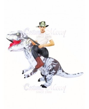 White Tyrannosaurus T-Rex Inflatable Carry Me Ride On Costume