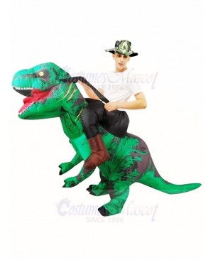 Green Tyrannosaurus T-Rex Inflatable Carry Me Ride On Costume