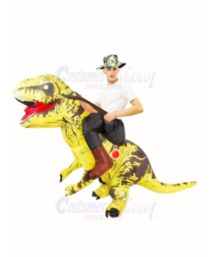 Yellow Tyrannosaurus T-Rex Inflatable Carry Me Ride On Costume