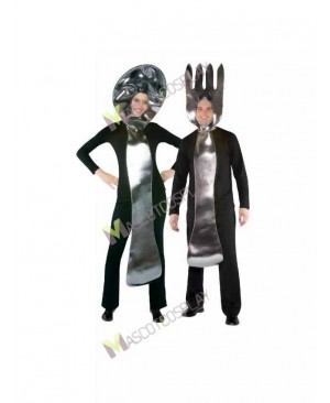 High Quality Adult Silver Fork and Spoon Mascot Costume