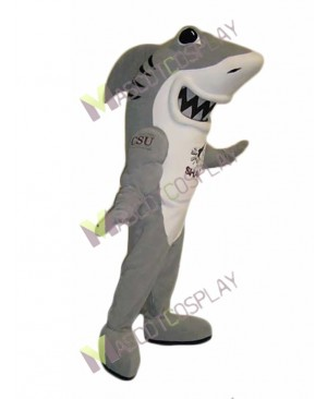 Grey and White Shark Mascot Costume