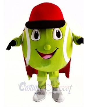 Cartoon Tennis Ball With Red Cap Mascot Costume