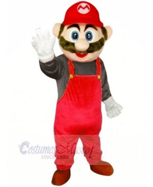 Super Mario with Red Overalls Mascot Costumes Cartoon
