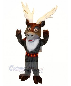 Grey Reindeer with Big Eyes Mascot Costumes Cartoon