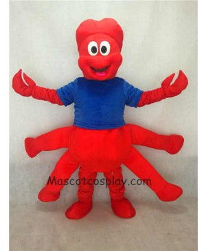 Hot Sale Adorable Realistic New Strange Red Claw Mascot Adult Costume with Blue Vest