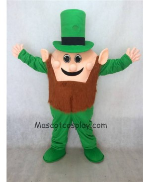 Hot Sale Adorable Realistic New Leprechaun Mascot Costume with Green Hat