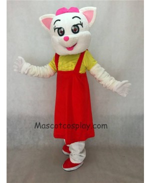 Hot Sale Adorable Realistic New Red Female Cat with Red Dress Adult Mascot Costume