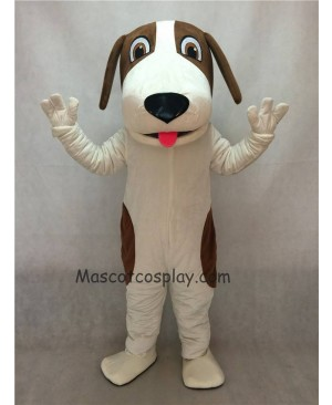 Brown and White Woofer Dog Mascot Costume