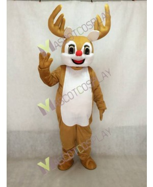 Bambi Deer with Red Nose Mascot Costume